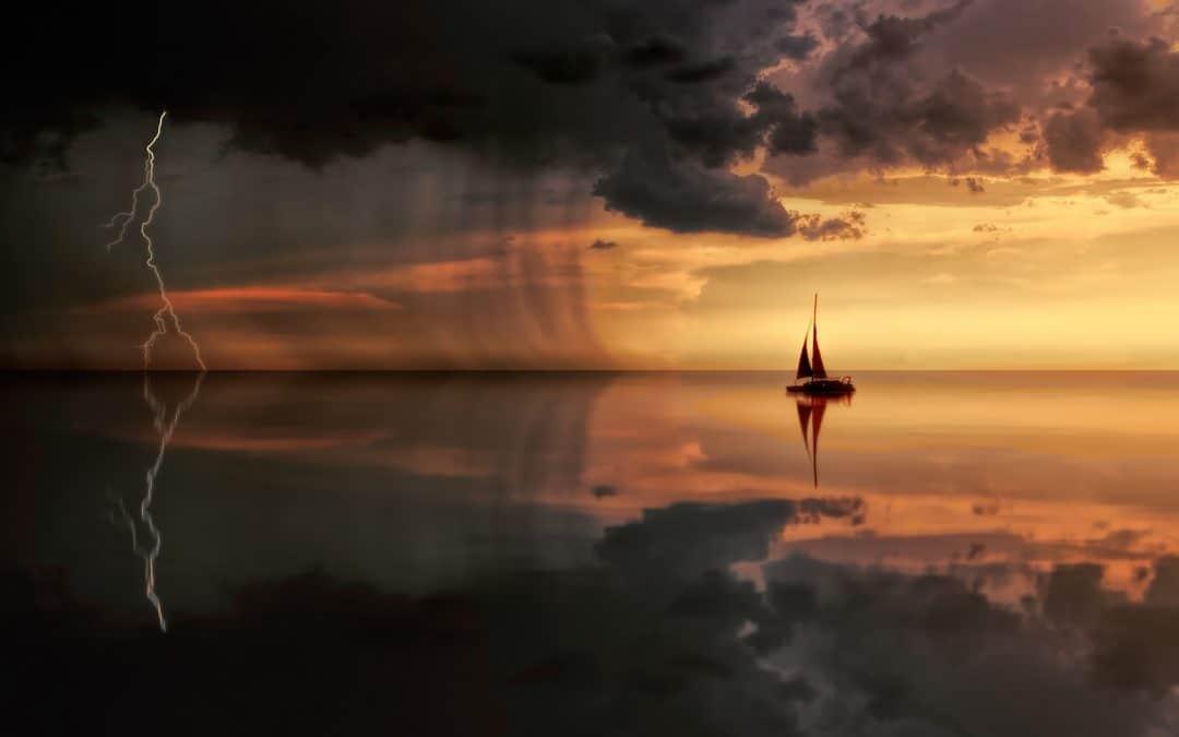 sunset image of boat