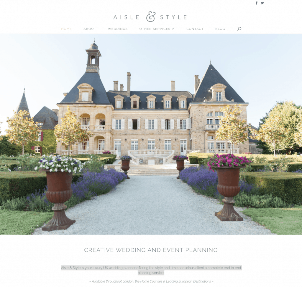 Aisle & Style wedding planner - great service-based website