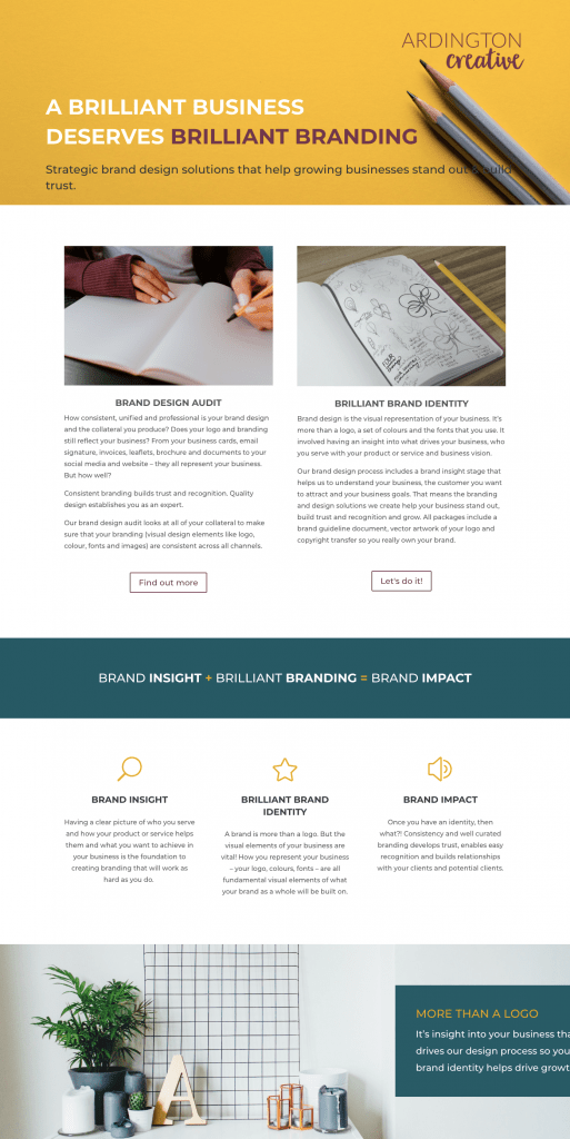 Ardington Creative - service-based website example