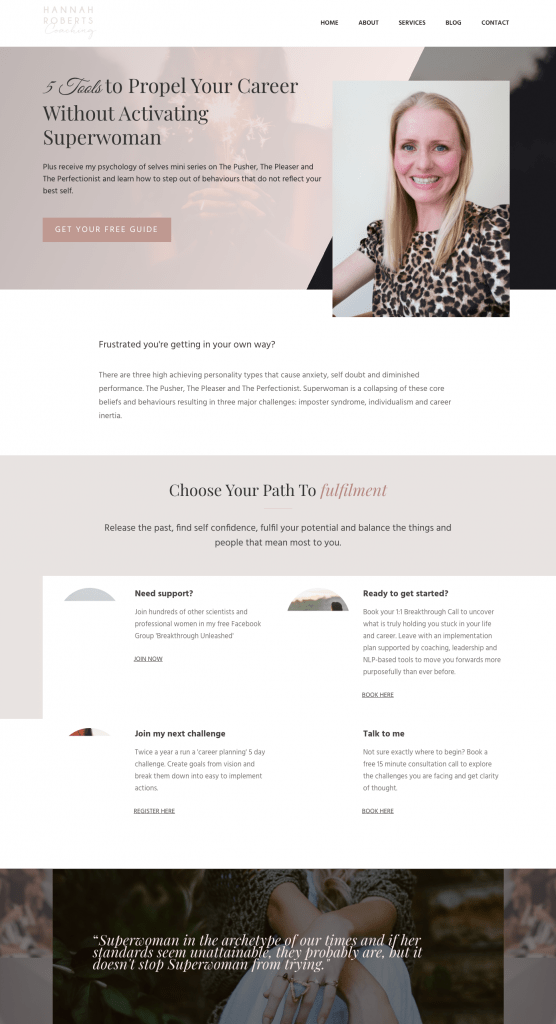 Hannah Roberts - career coach website example