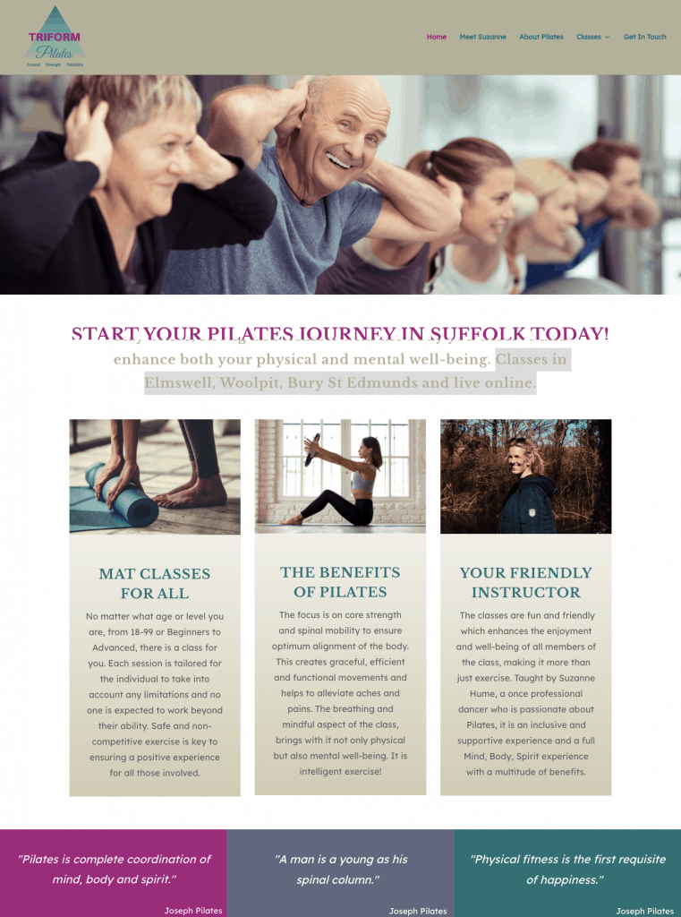 Triform Pilates - service-based website examples